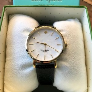 NWT! Kate Spade Pearl Face Black Leather Watch